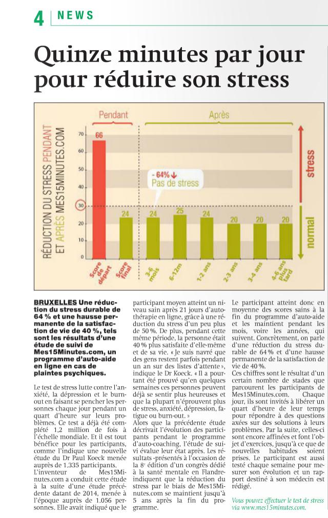 """Mes15Minutes.com dans """"Métro"""", le quotidien Belge, interview avec le Dr. Paul Koeck"""