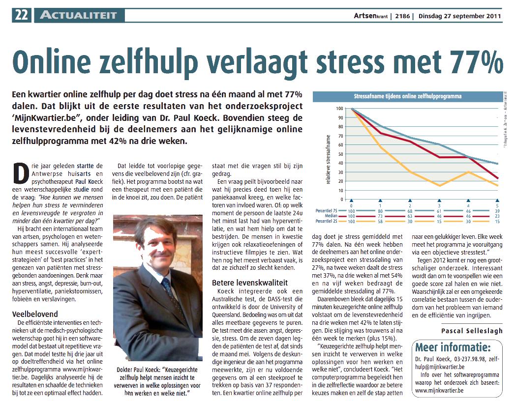 Mes15Minutes.com dans Le Quotidien du Médecin Belge avec le Dr. Paul Koeck